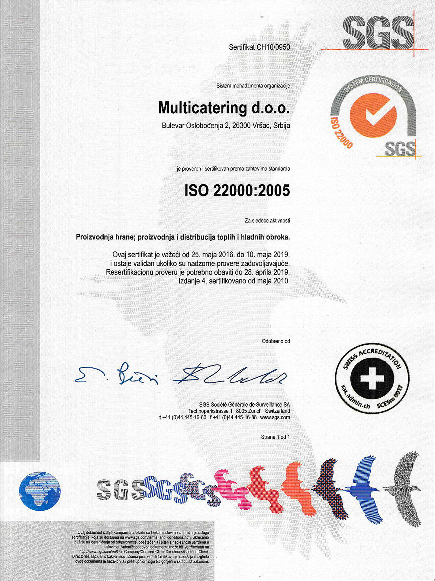 Sertifikat ISO 22000:2005