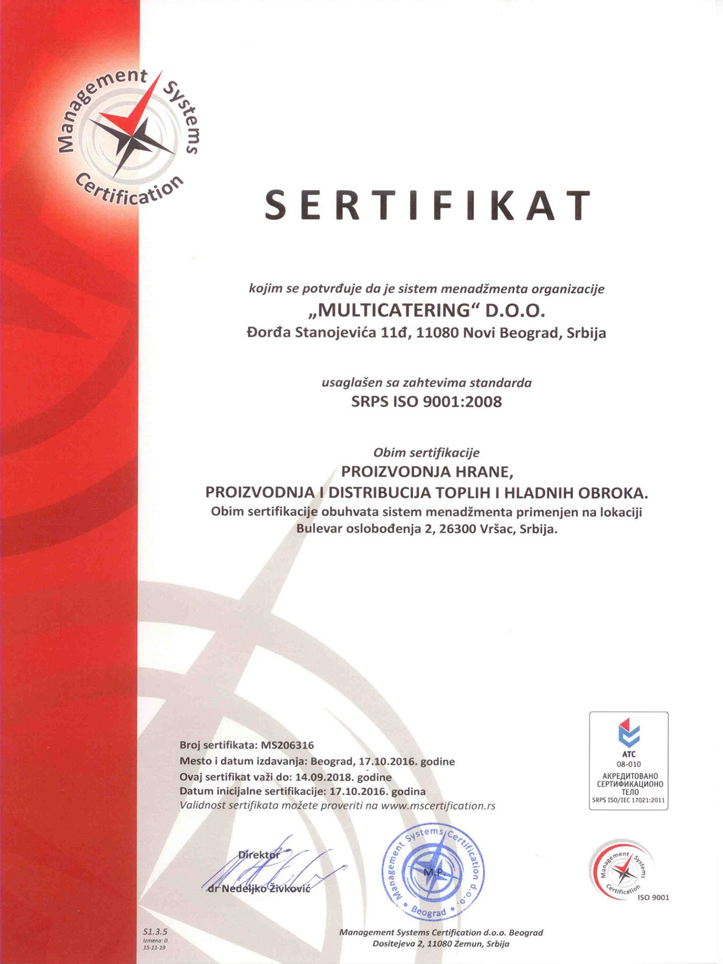 Sertifikat SRPS ISO 9001:2008